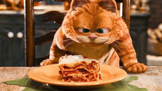 Garfieldın filminde ve çizgi filminde sık sık yediği yemek, lazanya.