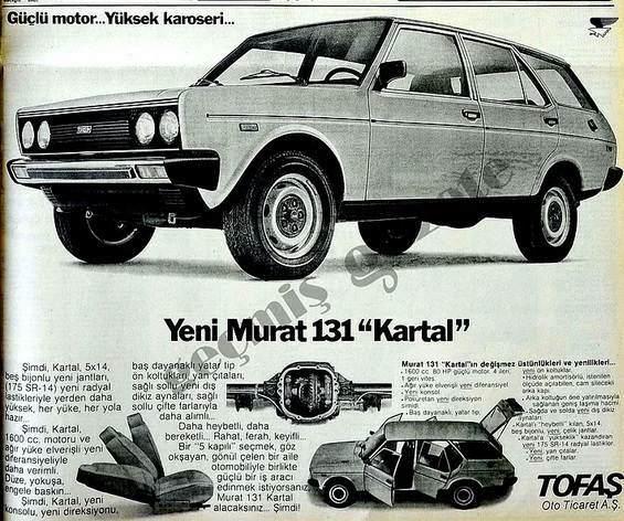 İlk 1600 cclik Tofaş Murat 131 Kartal reklamı