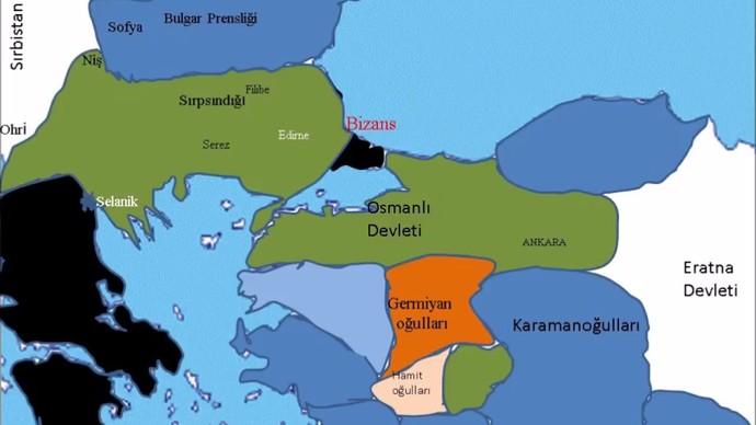 I. Murad döneminde Osmanlı haritası (Yeşil)