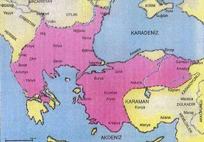 II. Murad döneminde Osmanlı haritası (Pembe)