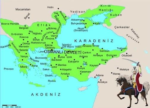Fatih Sultan Mehmed dönemi Osmanlı haritası (Yeşil)