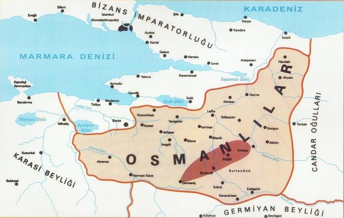 Osman Bey döneminde Osmanlı haritası