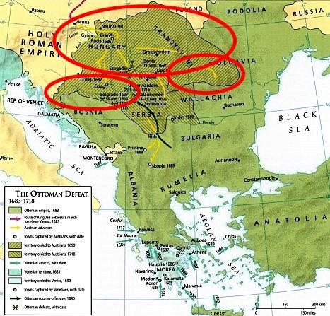 Karlofça Antlaşması ile kaybedilen topraklar (Kırmızı daireler)