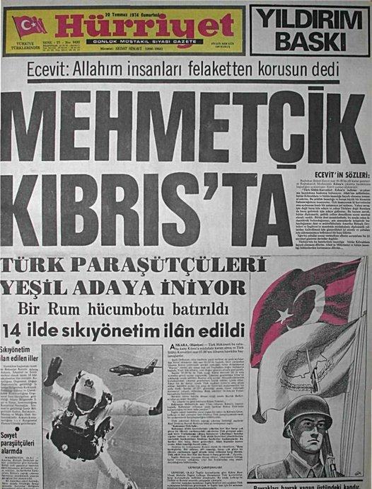 Kıbrıs Barış Harekatına ilişkin bir gazete manşeti.