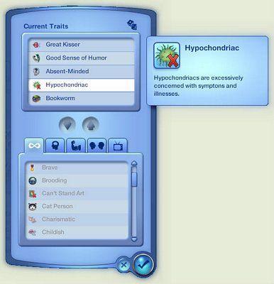 The Sims 3 CAS Kişisel Özellik Ekranı