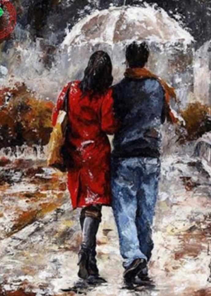 Sevgilisine yagmur altinda semsiye tutturan erkek mi? Yoksa, semsiyeyi sevgilisi icin tutan erkek mi?