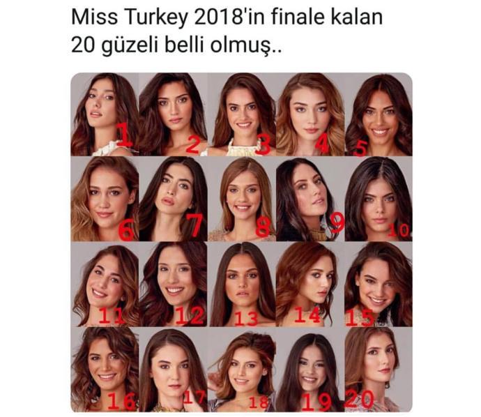 Miss Turkey güzellik yarışmasında finale kalan 20 güzelden favoriniz hangisi?
