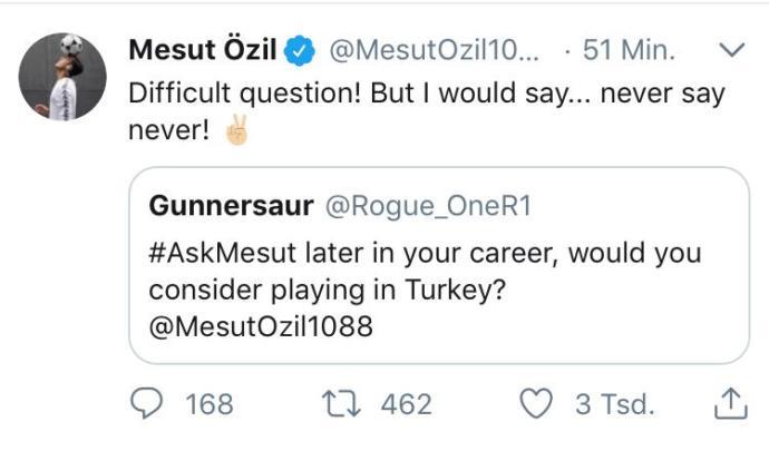 Mesut Özil, 'Türkiye' sorusuna Twitter üzerinden cevap verdi. Sizce Mesut Özil Türkiye'de oynar mı?