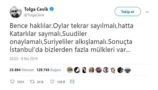Tolga Çevik İstanbul'da devam eden sandık sayımına gönderme yaptı.