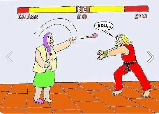 Street Fighter'da Türk Annesi Ken'e Terlik Fırlatırken
