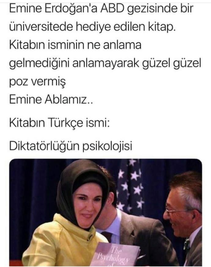 ABD'de Emine Erdoğan'a bir üniversitede hediye edilen The Psycholog of Dictatorship kitabını okuyanınız oldu mu (!) ?