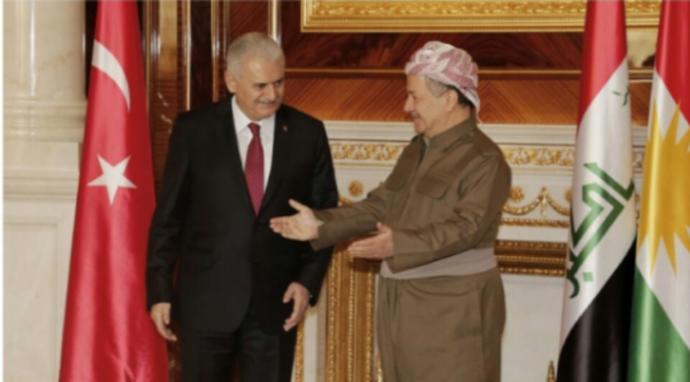 Kürdistan bölgesel yönetimi Eski başkanı Mesut Barzani ve Türkiye cumhuriyeti eski başbakanı Binali Yıldırım