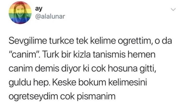 Yabancı bir sevgiliniz olsa, öğreteceğiniz ilk Türkçe kelime ne olurdu?