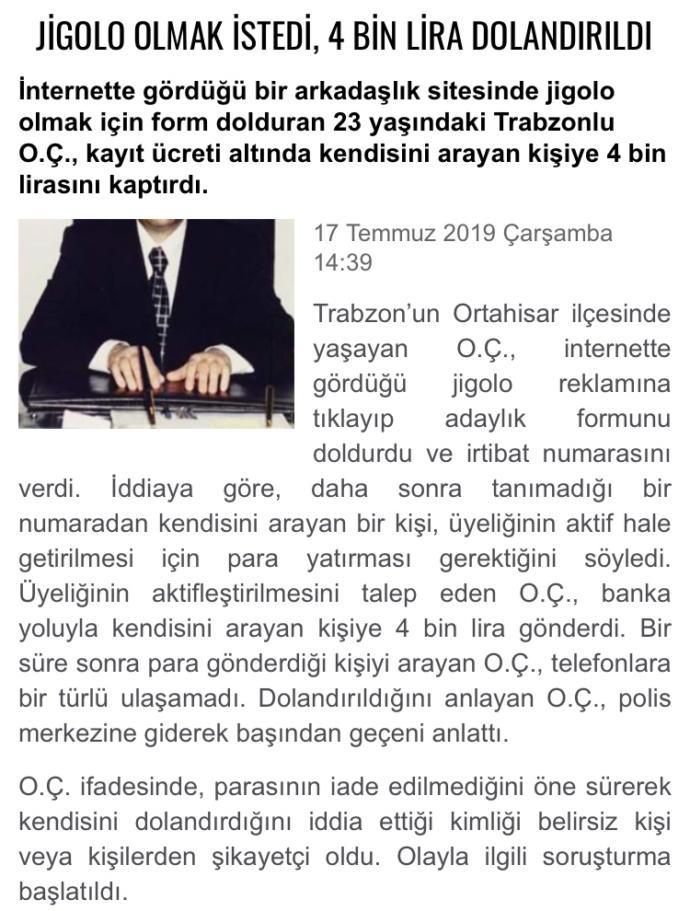 Jigolo olmak isteyen Trabzonlu genç, üyelik için dolandırıcılara 4 bin tl kaptırdı, sizce hak etmiş mi?