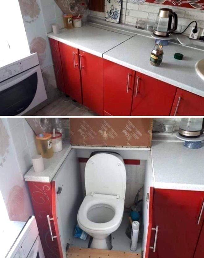 Mutfak-banyo ve tuvalet kombinasyonu bir arada olabilir mi?
