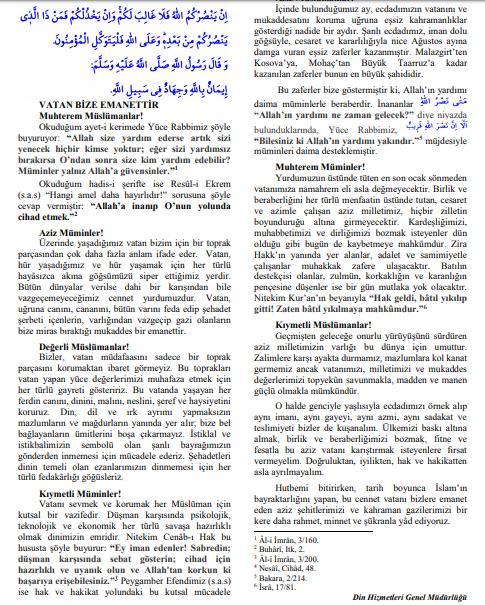 Diyanetin 30 Ağustos hutbesinde Türk milleti ve Atatürk özellikle geçmiyor. Acaba başka bir millete mi ait bu kurum?