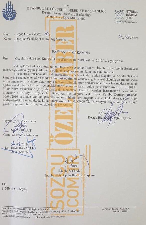 İstanbul Büyük Şehir Belediyesi Okçular Vakfına 1.200.000 lira bağış yapmış. Bu yasal mı?