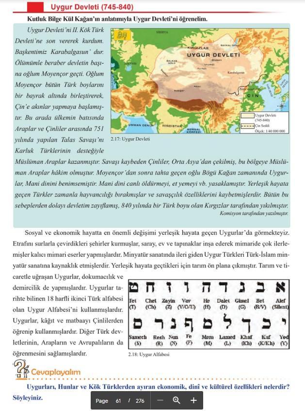 Sosyal bilgiler kitabında Uygur alfabesi yerine İbrani alfabesi yer aldı.