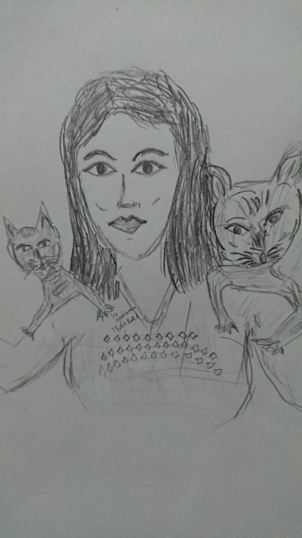 Kedileri seven kız - kara kalem çalışmam