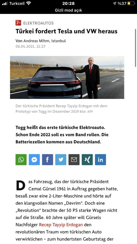 TOGG, Teslaya rakip olabilir diyen Almanya gazetesi haklı mı?