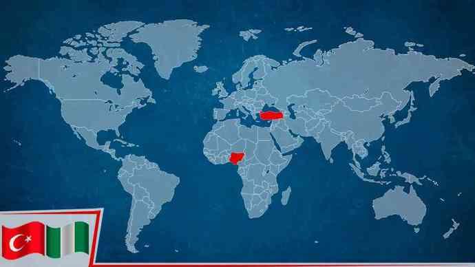 Nijerya Türkiye uçakla 2531 Mil yani 5 saat uzaklıkta.