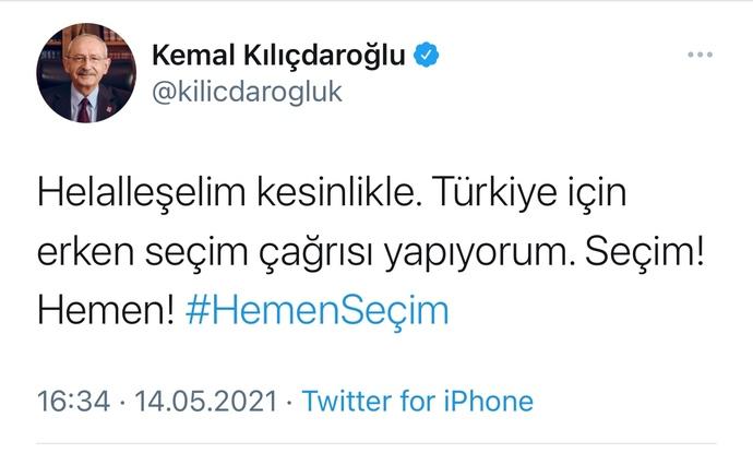 Son dakika ! Cumhuriyet Halk Partisi Genel Başkanı Kemal Kılıçdaroğlu erken seçim çağrısı yaptı bu çağrıyı nasıl karşılıyorsunuz?