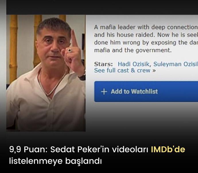 Sedat Peker'in videoları IMDb'de listelenmeye başladı. Siz de videolarını merakla izleyip, takip ediyor musunuz?