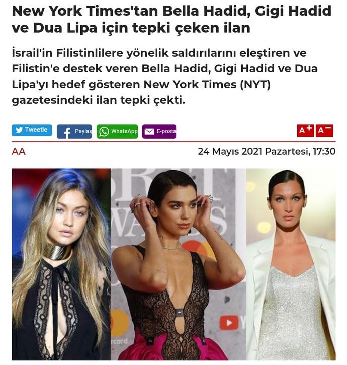 New York Timesin Gigi Hadid, Bella Hadid ve Dua Lipayı hedef göstermesi hakkında ne düşünüyorsunuz?