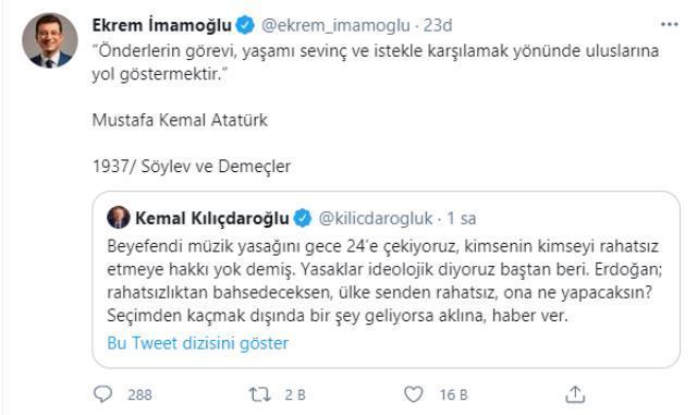 İmamoğlundan Erdoğanın müzik saati çıkışına Atatürkün sözüyle gönderme! Peki bu ilginç yasağı sizler doğru buluyor musunuz?