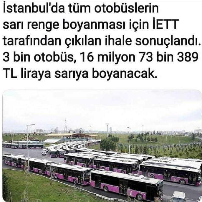 Tasaruf diye gelen IBB Imamoglunun Otobüsleri boyatma projesine ne diyorsunuz ?