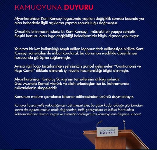 Afyonkarahisar Belediyesi Kent Konseyi logosunda yer alan Atatürk fotoğrafı kaldırıldı. Bu konuda ne düşünüyorsunuz?