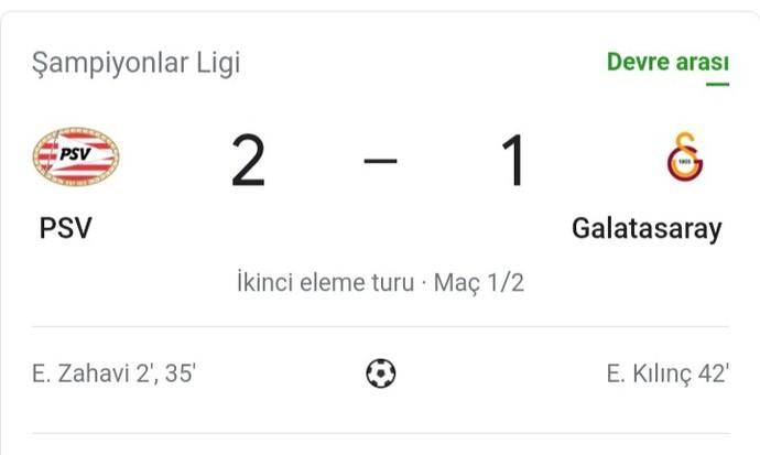 PSV Eindhoven-Galatasaray maçının ilk yarısı 2-1 bitti, sizce 2. yarı kazanır mıyız?