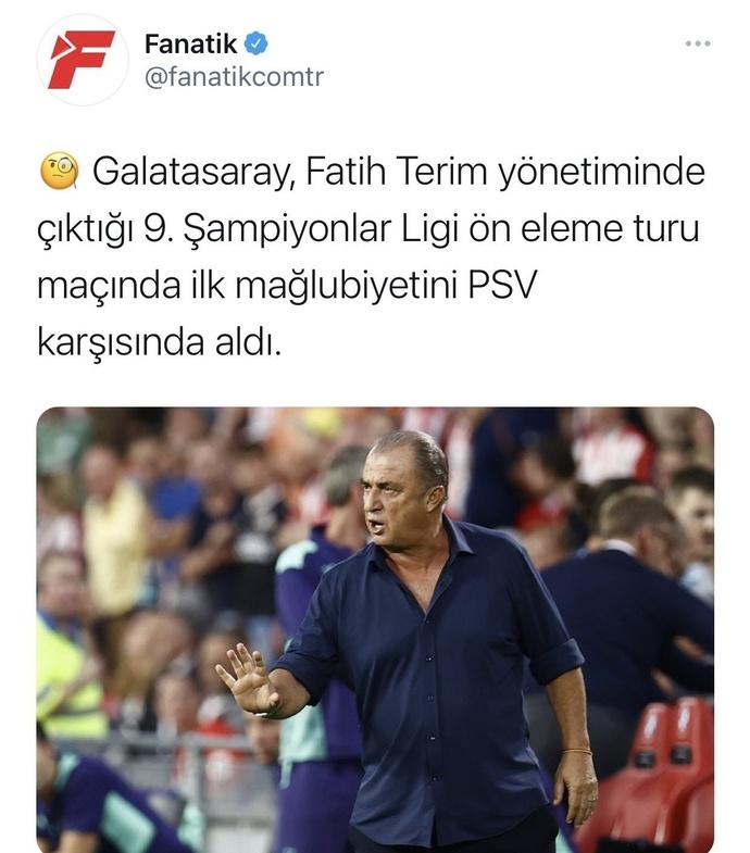 PSV gibi sıradan bir takım Galatasarayı beşledi geçti. Neden medyada kimse Fatih Terim i eleştiremiyor ?