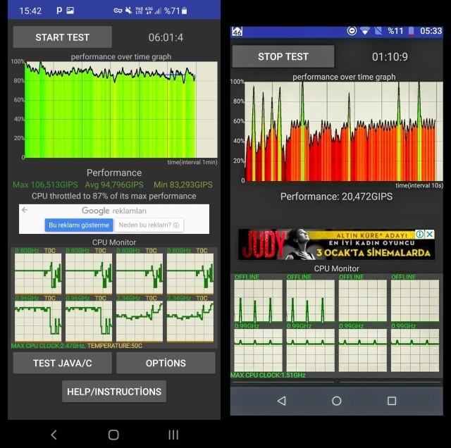 Önceki Telefonum Moto G4 Plus Cpu Throttling Grafik Performans Testi Ve Şimdiki Telefonum S10 İkisi Arasında ki Performans nasıl?