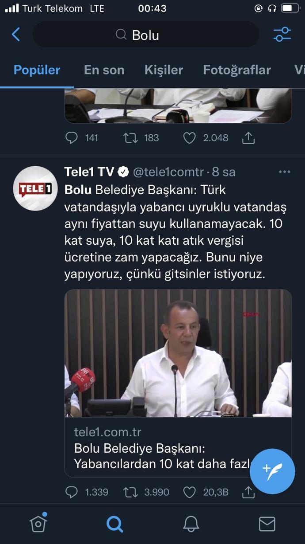 Bolu belediye başkanı: yabancı uyruklulara yaptığı uygulama hakkında düşünceniz ne?