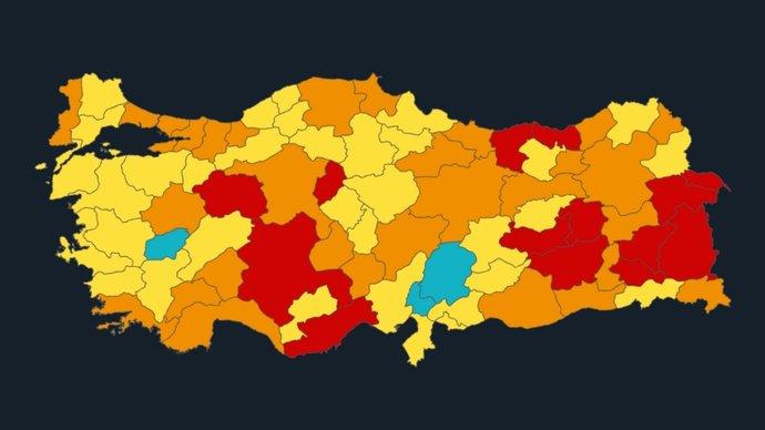 Türkiye, 20.890 yeni korona virüs vakası ve 96 yeni ölüm raporladı. Korona virüs risk haritasında sizin şehrinizin rengi ne?