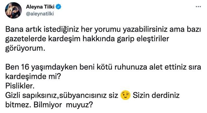 Aleyna Tilki, kız kardeşi Ayça Tilki hakkında yapılan yorumlara Sübyancısınız. diyerek sert bir cevap verdi. Ne düşünüyorsunuz?