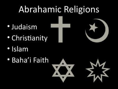 Hristiyanlığın sembolü (sol üstte), İslami sembol (sağ üstte), Yahudiliğin sembolü (sol altta), Bahailik sembolü (sağ altta)