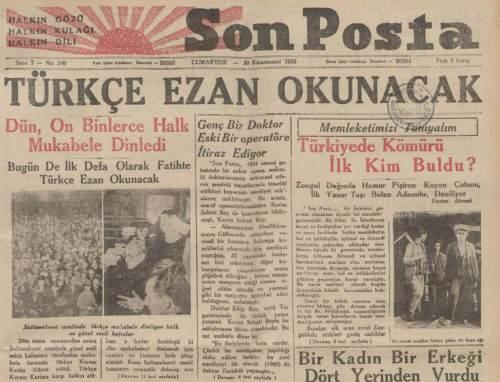 18 Eylül 1932 İlk Türkçe Ezan Okundu?
