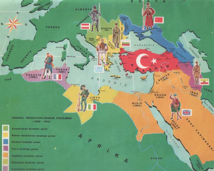 Osmanlının parçalanmasının gösteren bir harita